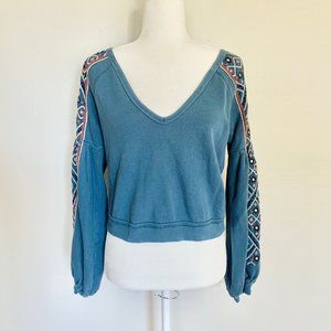 Free People Boho Embroidered Crop Top Blue Sweater